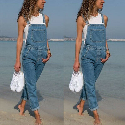 UK Womens Denim Dungarees Jeans Ladies Slim Fit Jumpsuit Overalls Jeans Trousers