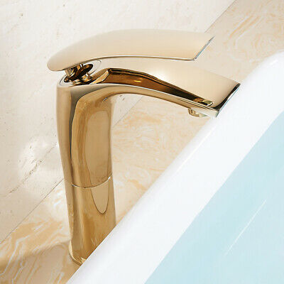 One-Hole Solid Brass Vessel Sink Faucet Basin Filler Tap for Bathroom in Gold