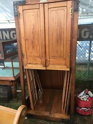 "c1890 oak collapsible McTammany voting booth repurposed cabinet 80' x 38"" x 40"""