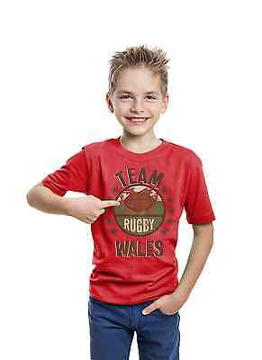 TEAM WALES Boys Girls Kids Rugby T-Shirt Six 6 Nations Welsh Cymru Shirt Top