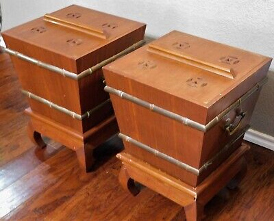 ATQ 1930's Pair Chinese Wood Brass Ice Chest Box Side Tables w/ Stands