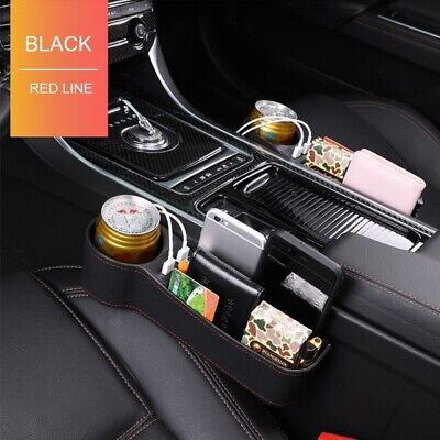 1PC Leather Car Seat Gap Storage Box Crevice Organizer Dual USB Port Cup Holder