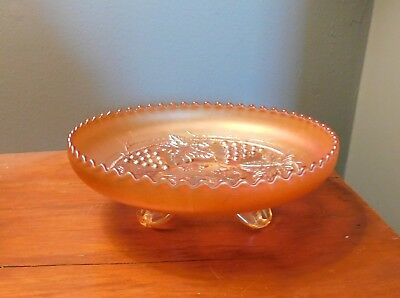 Antique NORTHWOOD GRAPE AND CABLE CARNIVAL GLASS  MARIGOLD FOOTED BOWL