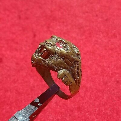 extremely lion ancient old ring bronze legionary roman ring bronze rare type