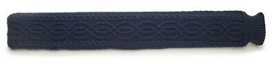 Navy Classic Cable Knit Cover 2L Long Odour Free Tubular PVC Hot Water Bottle