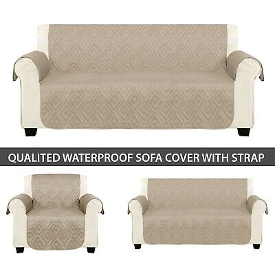 1/2/3 Seater Sofa Cover Furniture Protector Throw Waterproof Beige Sofa Covers