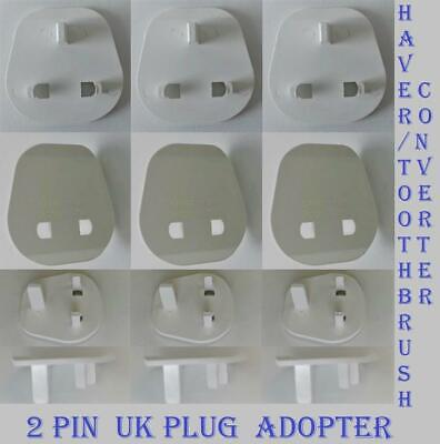 Electrical Mains 2 Pin Shaver/Toothbrush Plug Converter To UK 3 Pin Adaptor Plug