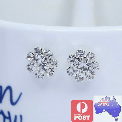 2 Magnetic Crystal Round Earrings Ear Stud Non Piercing Women Men Kids Jewellery