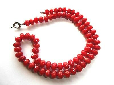 Vintage Red Faceted Jade Beaded Necklace