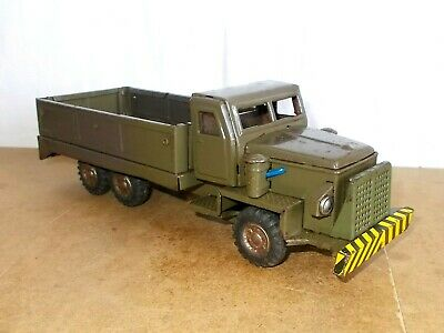 Vintage tin toy - SSS made in Japan SHIOJI - S 1134 MILITARY DUMP TRUCK - 60s
