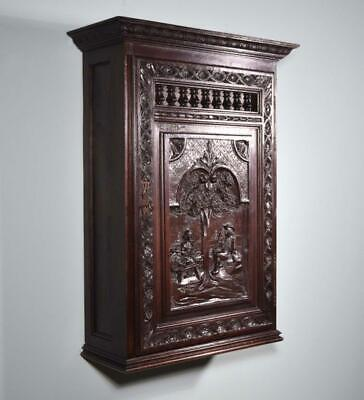 *Antique French Breton Wall/Key/Display/Bar Cabinet in Solid Chestnut (Brittany)