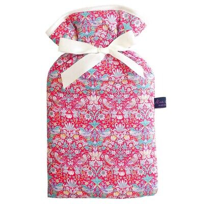 Famous Liberty London Fabric Strawberry Thief Red Print 2L Hot Water Bottle