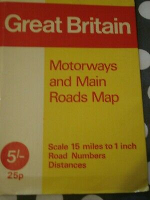 70's MOTORWAY & MAIN ROAD MAP GREAT BRITAIN When the M'ways were developing.