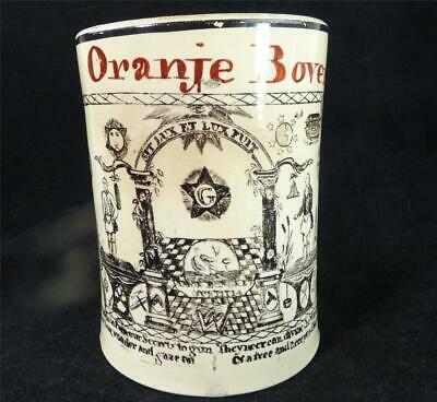 M020 Antique Late 18Th Century Creamware Masonic Tankard Dutch Interest Oranje