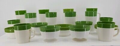 Vintage 1950s Mid Century Raffiaware by Thermo-Temp 19 pc's Green & White Ribbed