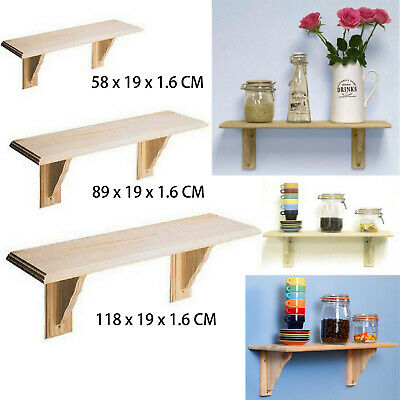 Natural Pine Wood Shelves Shelf Wall Floating Wooden Shelf Storage With Fittings