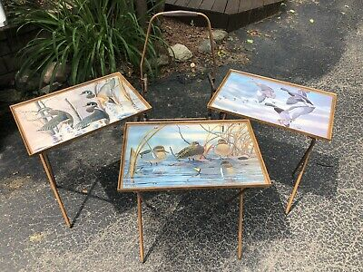 tv tray Duck 3 Set Folding Television Vtg Stand Art Deco Swag Metal Macleod Farm