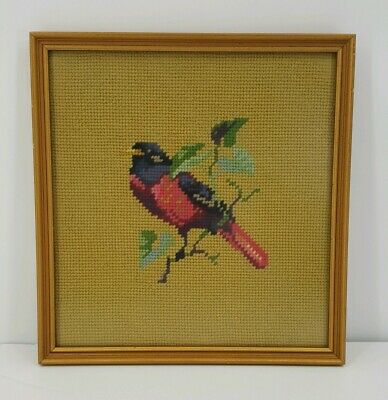 Vintage Embroidered Needlepoint Framed Bird 10 X 10 Completed