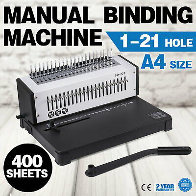 Steel Comb Coil Binding Machine A4 21 Holes Paper Puncher Book 400 Sheet Office
