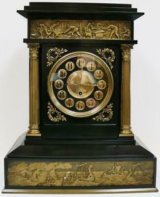 Rare Antique English Architectural Triple Fusee Musical 8 4 Bell Bracket Clock