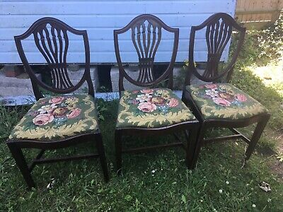 3 Shield Back 19th Century Hepplewhite Style Mahogany Dining Chairs