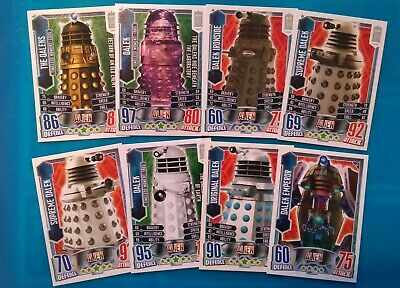 Doctor Who Alien Attax Cards. Set Of 8 Dalek Cards