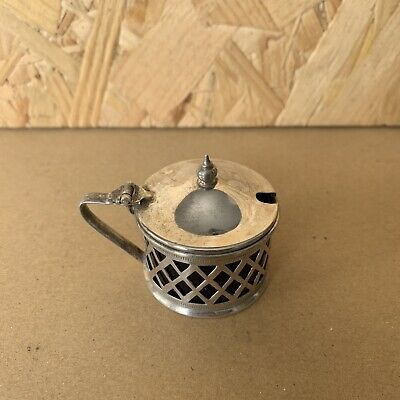 Vintage Silver Plate Salt / Mustard Pot with Bristol Blue Glass Insert