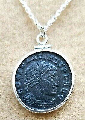 Constantine the Great Authentic Ancient Roman Emperial Coin 925 Silver Necklace