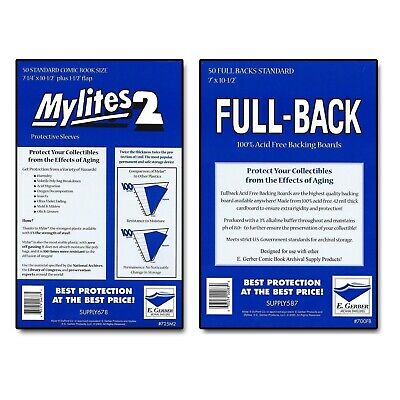775M2/750FB E.Gerber 50 Mylites2 SILVER/GOLD Mylars Bags & Full Back Boards
