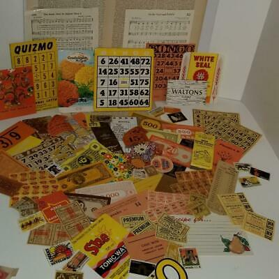 75 pc vintage ephemera lot orange yellow brown fall color paper pack O