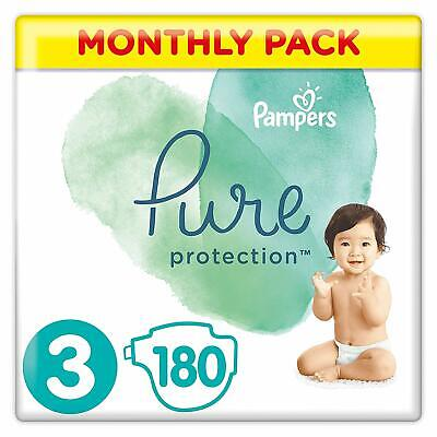 Pampers Pure Protection Size 3 Nappies Mega Saving Pack of 180 Diapers NEW