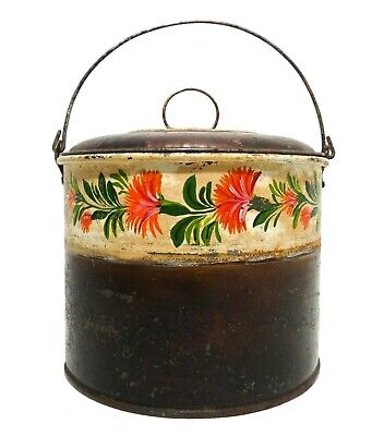 Rare 19Th C Antique Toleware Tin Blueberry Pail, W/Lid/Handle/Hand Painted Band