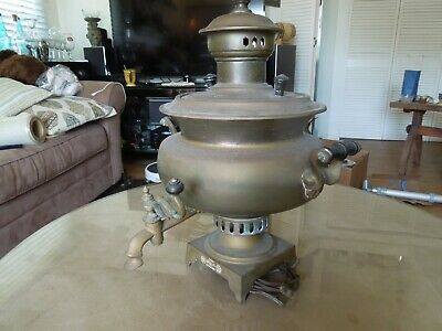 Antique Vasilij Batashev Brass Imperial Russian Tula Samovar Modified As Lamp