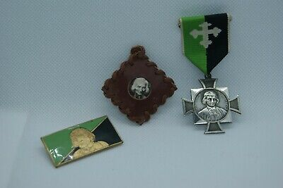 † John Vianney 1 Lot : 1 Reliquary 1 Brooch 1 Medal The Cure Of Ars Relic France
