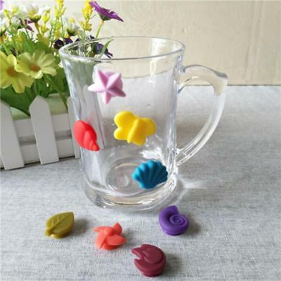 Cute Cup Wine Glass Drink Silicone Label Tag Markers Bottle Charms Suction YI