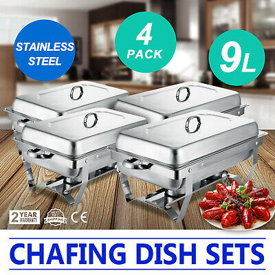 4 Pack of 9L Chafing Dishes Buffet Catering Stainless Steel W/Tray Rectangular
