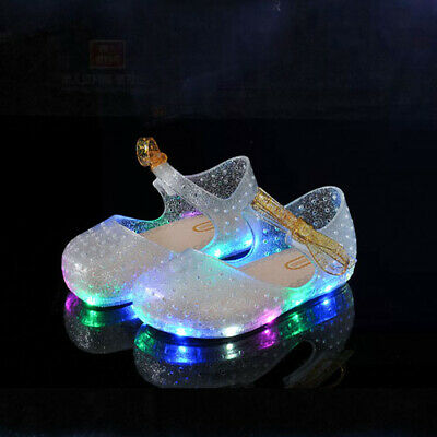 Girl Crystal Jelly Gel LED Light Up Shoes For Frozen Cinderella Sophia Cosplay