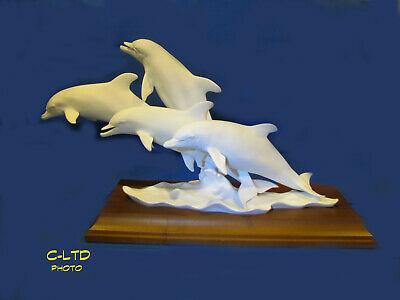 KAISER White Bisque PORCELAIN : 4 DOLPHINS with Wood BASE ... LIMITED Edition!
