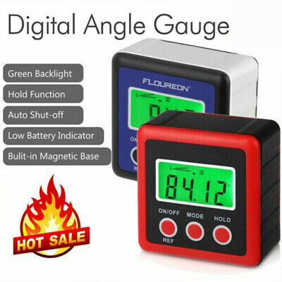 LCD Digital Box Gauge Angle Protractor Level Inclinometer Magnetic Base 0- 360°