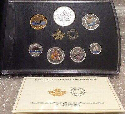 2019 Pure Silver Colourised Coin Set: Classic Canadian Proof 7Pieces RCM