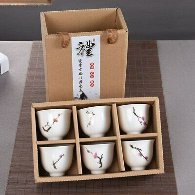 6Pcs Hand Painted Ceramic Kung Fu Tea Set Bowl Chinese Porcelain Creative Gifts
