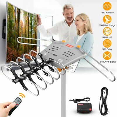 150 Mile HDTV 1080P Outdoor Amplified Antenna 360 Rotor Digital HD TV VHF FM UHF