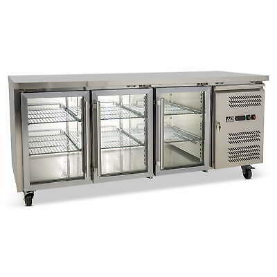 Three Door Commercial Glass Door Worktop / Bench Display Fridge 417L