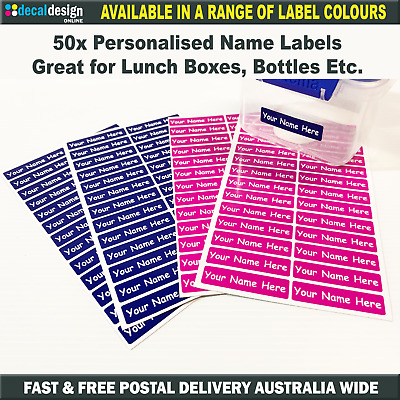 50 x Personalised Vinyl Name Label stickers 50mm x 12mm books lunch box bottles