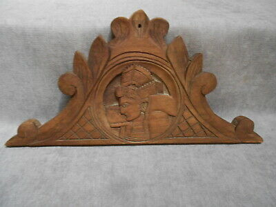 Antique french carved wood figural PEDIMENT PANEL FRONTON - QUIMPER Style -