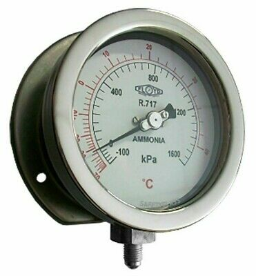 Floyd R717 COMPOUND GAUGE 100mm -100 To 2000kPa, Surface Mount Bottom Entry