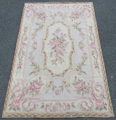 Hand Made French Aubusson Savonnerie Needlepoint Embroidered Wool Rug