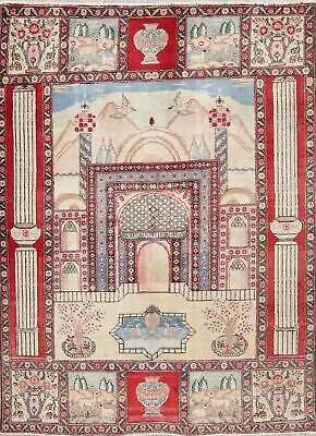 Vintage Geometric Area Rug Wool Hand-Knotted Oriental Prayer Pictorial 4x6 Ivory