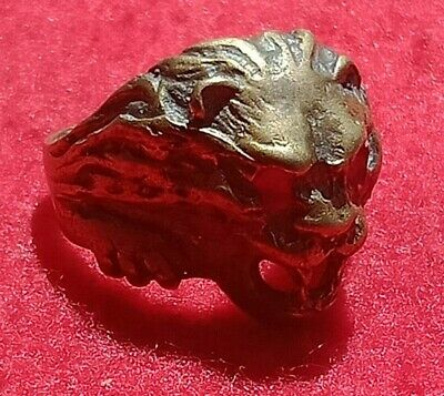 Rare Ancient Solid Ring BRONZE Roman Real LION Stunning Artifact Rare Antique