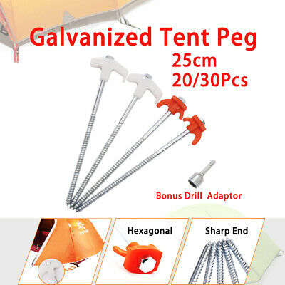 20/30/50pcs Heavy Duty 25CM Screw In Tent Pegs Camping Ground Stakes Awning Pegs